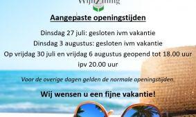Vakantie/aangepast geopend
